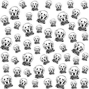 Goldendoodle Dog black and white fabrics