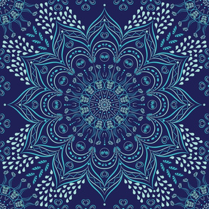 Navy blue and teal floral mandala
