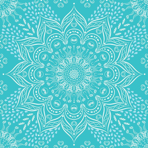 Teal blue and white mandala