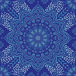 Teal mandala on dark blue background