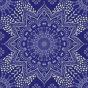 Navy blue and white mandala pattern