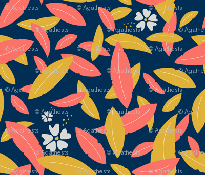 Leaves & hibiscus