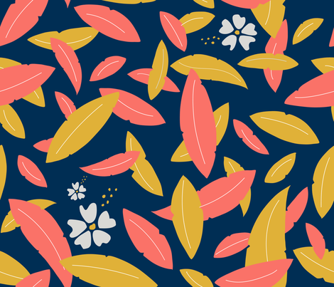 Leaves & hibiscus fabric by agathests on Spoonflower - custom fabric