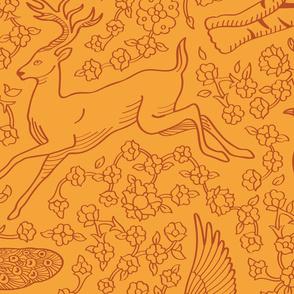 Persian Animals Orange Brown Seamless Pattern - Large