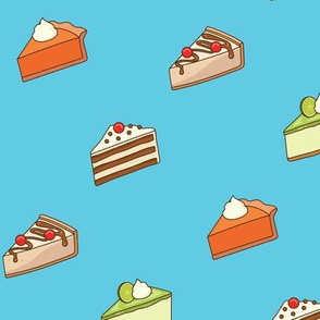 Slices of Cake on Blue