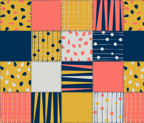 Coral Palette Patchwork fabric by fabric_rocks on Spoonflower - custom fabric