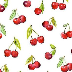 Sweet cherries - summer watercolor fruit