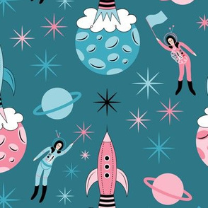 Space Girls on Teal Small