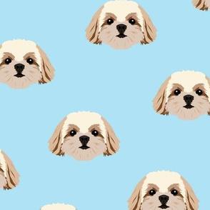 Small Shih Tzu Dog Pattern - Blue Background
