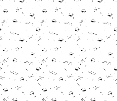 Magic universe cool galaxy zodiac planet print with moon and stars space monochrome black and white fabric by littlesmilemakers on Spoonflower - custom fabric