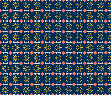 Coral Diamonds &  Golden Flowers on Midnight Blue fabric by miki_english on Spoonflower - custom fabric