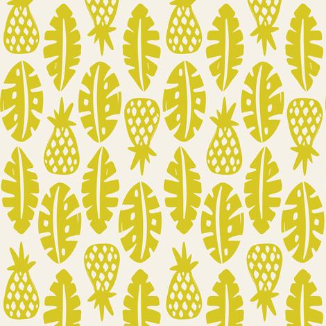 Rainforest - Cream Citron Green fabric by heatherdutton on Spoonflower - custom fabric