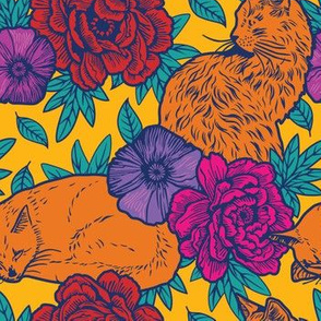 Chinoiserie Inspired Floral Design with Cats - vivid - smaller version