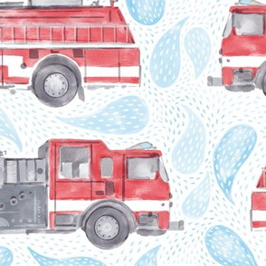 Large Scale Watercolor Fire Trucks