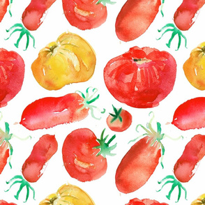 Tomatoes seamless watercolor pattern_1