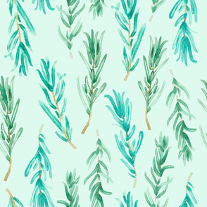 Watercolor rosemary pattern seamless