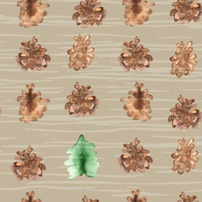 19-01Q Pine Cone Tree Brown Tan Taupe _ Miss Chiff Designs