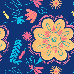 Polish Floral Pattern orange flowers seamless
