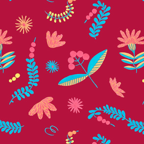 Folklore herbal background seamless flowers pattern 3