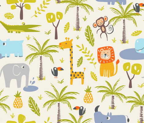 It's A Jungle Out There - Jumbo Scale fabric by heatherdutton on Spoonflower - custom fabric