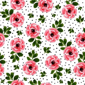 """8"""" Red Roses Mix and Match - Black Polka Dots"""