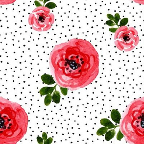 "8"" Red Roses Version 2 - Black Polka Dots"