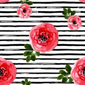 "8"" Red Roses Version 2 with Black Stripes"