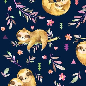Sloths Hangin On, navy blue – Children's Bedding Baby Girl Nursery, LARGE Scale