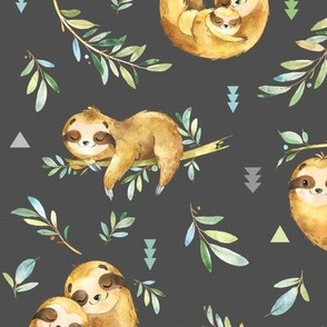 Sloths Hangin On, dark smokey gray – Children's Bedding Baby Boy Nursery, LARGE Scale
