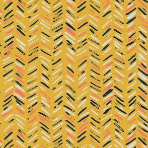 chevron mustard coral navy pattern