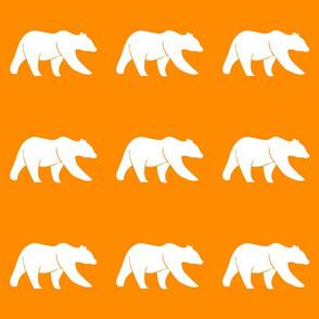 "6"" bear on orange quilt block C19BS"