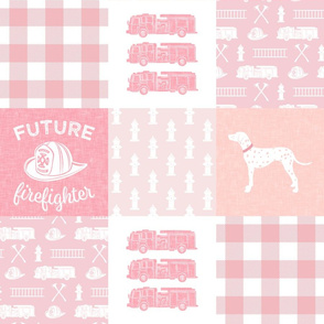 firefighter wholecloth - patchwork -  pinks future firefighter  C19BS