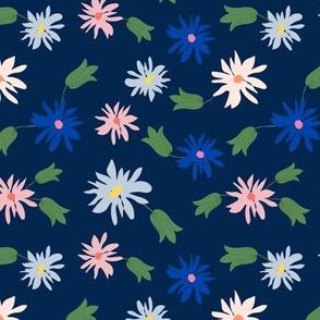 daisy flowers-navy
