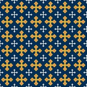 Gold Crosses on Blue 3