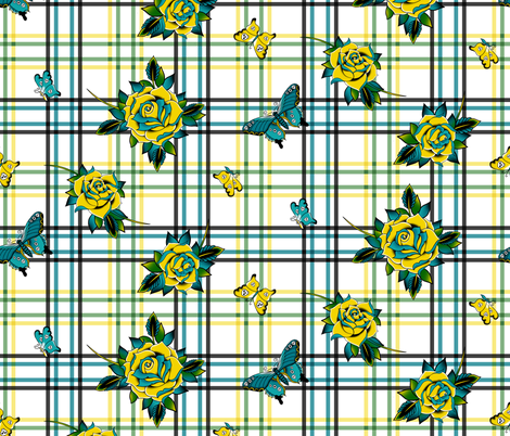 Deadly Plaid Yellow Teal fabric by wickedrefined on Spoonflower - custom fabric