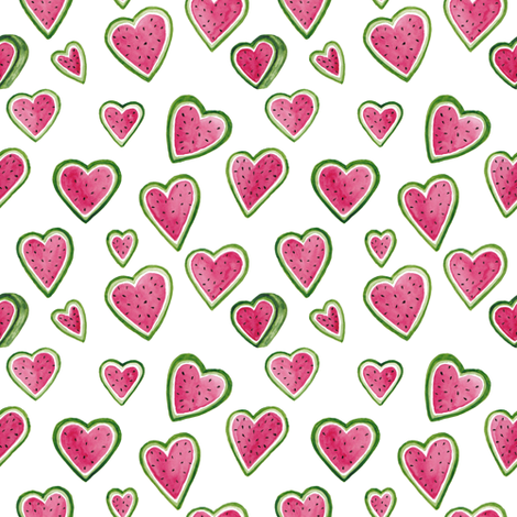 watermelon hearts alternate fabric by snarkhearted on Spoonflower - custom fabric
