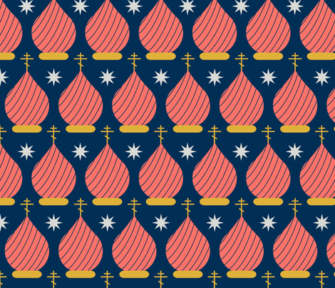 Coral Onion Domes at Night fabric by st_tabithas_workshop on Spoonflower - custom fabric