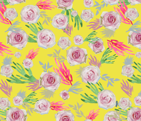 Pale Roses in Oil Paint on Yellow fabric by wxstudio on Spoonflower - custom fabric