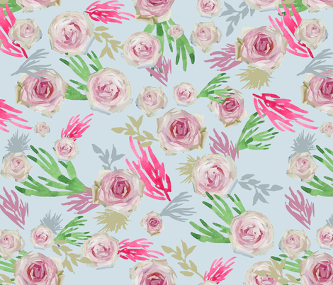 Pale Roses in Oil Paint on Light Blue fabric by wxstudio on Spoonflower - custom fabric