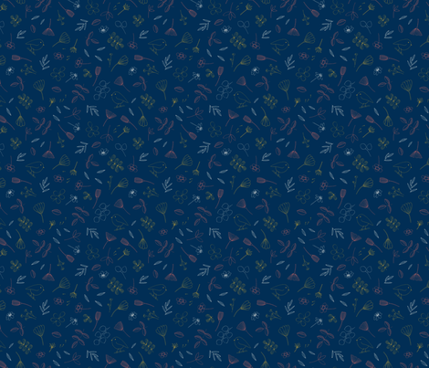 doodle nature on blue fabric by christelleheyns on Spoonflower - custom fabric