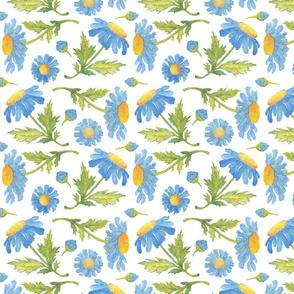 Big blue daisies watercolor