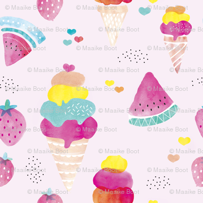 Colorful summer fruit ice cream water melon and strawberry illustration watercolors print pink SMALL