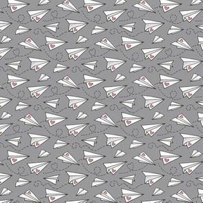 Paper Plane Love Hearts Valentine on Dark Grey Tiny Small 1 inch