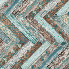 Vintage Wood Chevron Tiles Herringbone Teal Blue Coffee Brown Horizontal