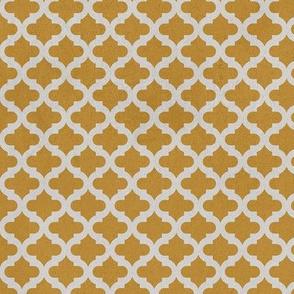 Moroccan Mosaique Lattice Safron Yellow  Cream distressed stone texture