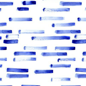Denim blue watercolor brush strokes || grungy painted stripes pattern