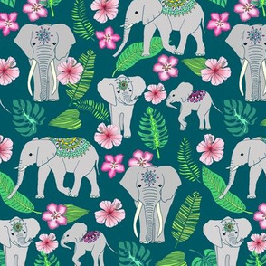 Elephants of the Jungle on green