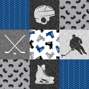 Ice Hockey Patchwork - Hockey Nursery - Wholecloth blue and grey - LAD19