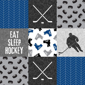 Eat Sleep Hockey - Ice Hockey Patchwork - Hockey Nursery - Wholecloth blue and grey - LAD19