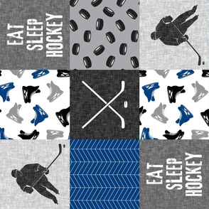 Eat Sleep Hockey - Ice Hockey Patchwork - Hockey Nursery - Wholecloth blue and grey - LAD19 (90)